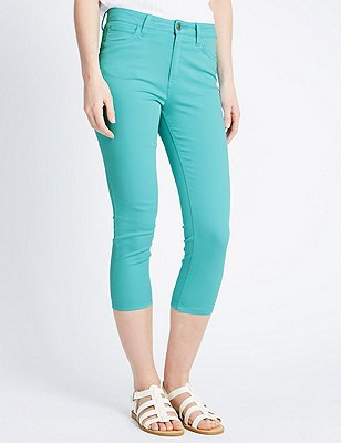 Cropped Jeggings, TURQUOISE, catlanding