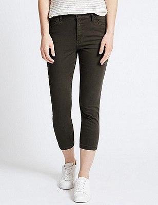 Super Skinny Cropped Jeans, DARK KHAKI, catlanding