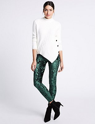 Velvet Leggings, DARK TEAL, catlanding