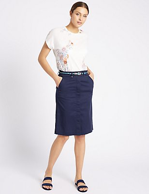 Cotton Rich Straight Midi Skirt with Belt, NAVY, catlanding