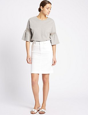 Denim Straight Mini Skirt, IVORY, catlanding
