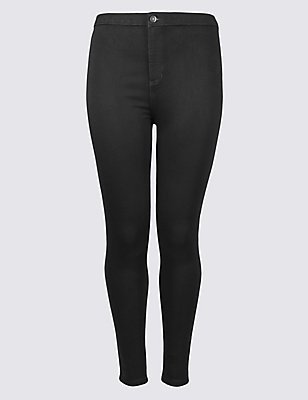 PLUS High Waist Jeans, BLACK, catlanding