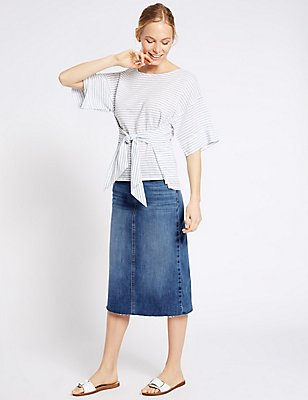 Denim Dark Pocket Midi Skirt, INDIGO MIX, catlanding