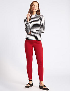 Cotton Rich Jeggings, RED, catlanding