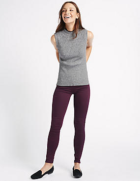 Cotton Rich Jeggings, DARK GRAPE, catlanding