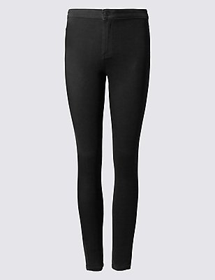 PLUS Cotton Rich High Waisted Jeggings, BLACK, catlanding