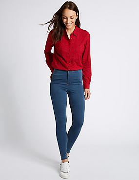 Jean ultra-skinny taille haute, TEINTE BLEUE, catlanding