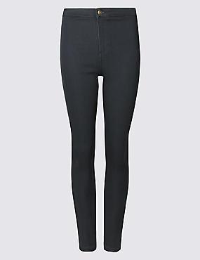 Sehr schmal geschnittene Jeans mit hohem Bund, DUNKELGRAU, catlanding