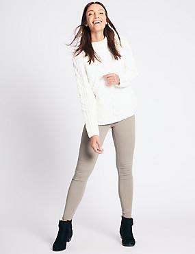 High Waist Super Skinny Jeans, OYSTER, catlanding