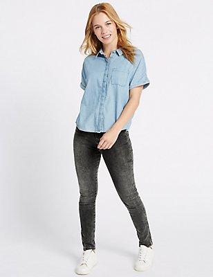 PETITE High Rise Skinny Leg Jeans, BLACK MIX, catlanding