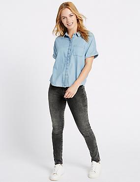 PETITE– Jean skinny taille haute, NOIR ASSORTI, catlanding
