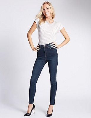 High Waisted Skinny Leg Jeans, DARK INDIGO, catlanding