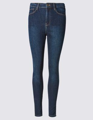 Потёртые джинсы скинни с высокой посадкой по линии талии