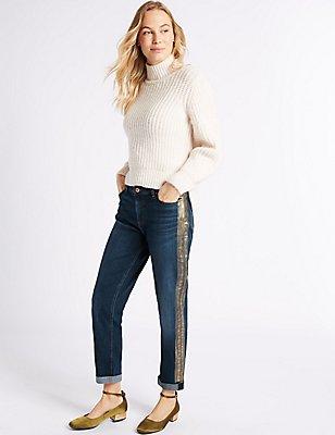 Metallic Mid Rise Slim Leg Jeans, MEDIUM INDIGO, catlanding