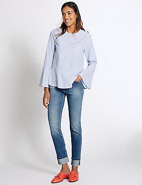 Mid Rise Slim Leg Jeans, MEDIUM INDIGO, catlanding
