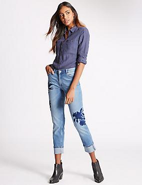 Jeans met middelhoge taille, smalle pijpen en borduursel, LICHT INDIGO, catlanding