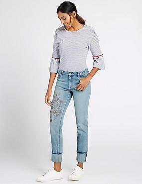 Floral Print Mid Rise Slim Leg Jeans, LIGHT INDIGO, catlanding