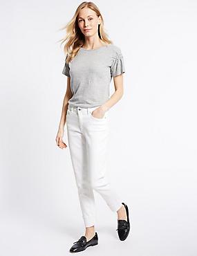 Relaxed Mid Rise Slim Leg Jeans, SOFT WHITE, catlanding