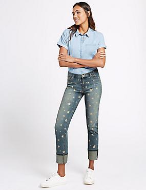 Star Print Relaxed Mid Rise Slim Leg Jeans, BLUE TINT, catlanding
