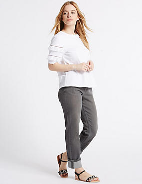 PETITE Mid Rise Relaxed Slim Jeans, GREY, catlanding