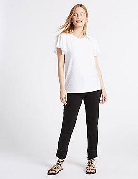 PETITE Mid Rise Relaxed Slim Jeans, BLACK MIX, catlanding