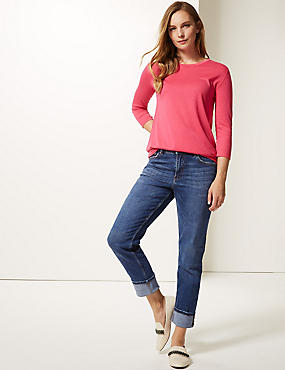 Turn Up Mid Rise Slim Leg Jeans, MED BLUE DENIM, catlanding