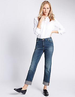 Mittelhohe Jeans mit schmalem Bein und Umschlag, BLAU GETÖNT, catlanding