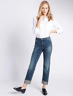 Jeans slim de talle medio con vuelta, AZUL TINTE, catlanding