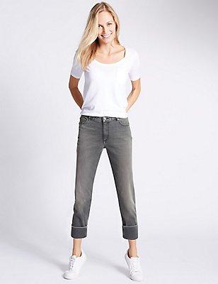 Relaxed Slim Leg Jeans, GREY, catlanding