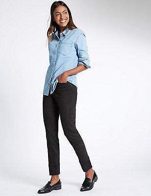 Turn Up Mid Rise Slim Leg Jeans, BLACK MIX, catlanding