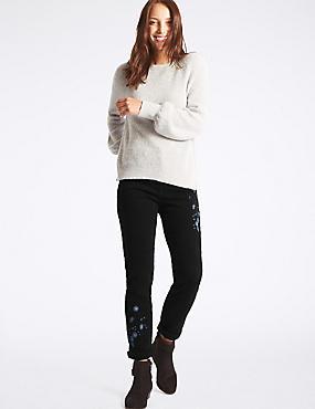 Embroidered Mid Rise Slim Leg Jeans, BLACK, catlanding