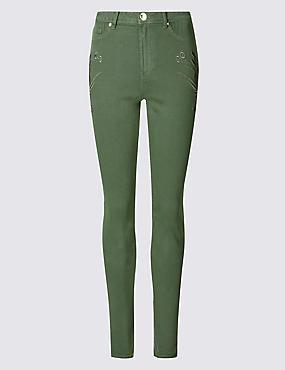 Roma Rise Skinny Leg Jeans, KHAKI, catlanding