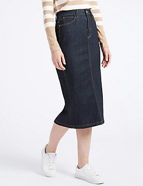 Denim Midi Skirt, INDIGO MIX, catlanding