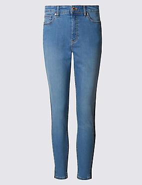 High Rise Embroidered Skinny Leg Jeans, MEDIUM INDIGO, catlanding