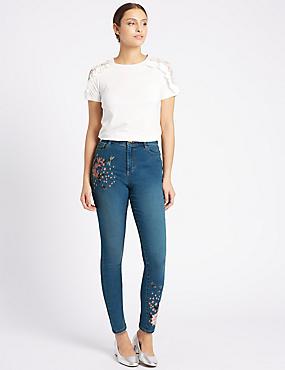 Embroidered Roma Rise Skinny Leg Jeans, INDIGO, catlanding