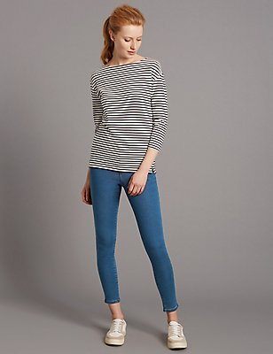 High Waist Cropped Skinny Leg Jeans, LIGHT INDIGO, catlanding