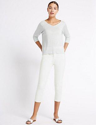 High Rise Cropped Straight Leg Jeans, SOFT WHITE, catlanding