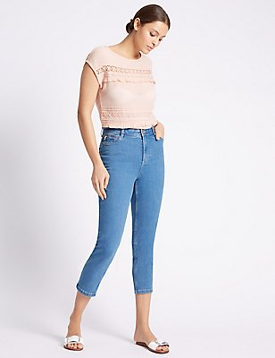 High Rise Cropped Straight Leg Jeans, LIGHT INDIGO, catlanding