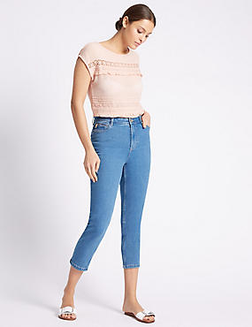 High Rise Cropped Straight Leg Jeans, , catlanding