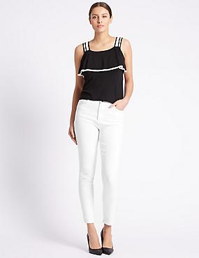 Skinny Jeans, WHITE, catlanding