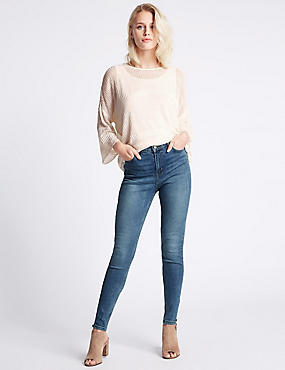 Skinny Leg Jeans, MEDIUM INDIGO, catlanding