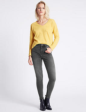 Skinny Leg Jeans, GREY, catlanding