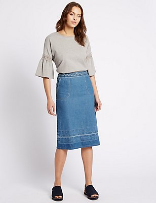 Denim Midi Skirt, DENIM MIX, catlanding