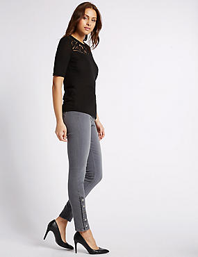 Ankle Button Skinny Leg Jeans, LIGHT GREY, catlanding