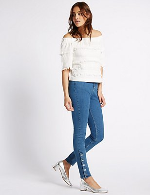 Ankle Button Skinny Leg Jeans, LIGHT INDIGO, catlanding