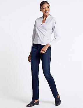 Ozone Mid Rise Straight Leg Jeans, INDIGO MIX, catlanding