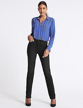 Ozone Mid Rise Straight Leg Jeans, BLACK MIX, catlanding
