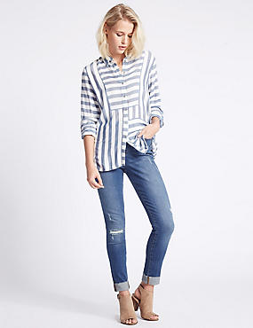 In Fray Turn Up Mid Rise Skinny Leg Jeans, INDIGO, catlanding