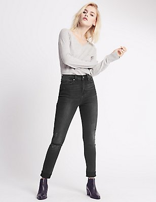 In Fray Turn Up Mid Rise Skinny Leg Jeans, BLACK, catlanding