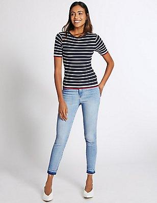 Drop Hem High Rise Skinny Leg Jeans, PALE BLUE, catlanding